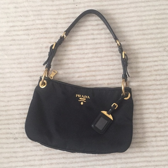 ed38ac05 Prada Classic Tessuto Black Leather and Nylon Bag
